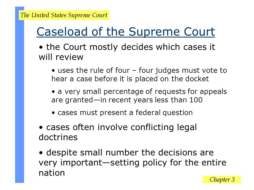 the Court mostly decides which cases it will review uses the rule of four – four judges must vote to hear a case before it is placed on the docket a v