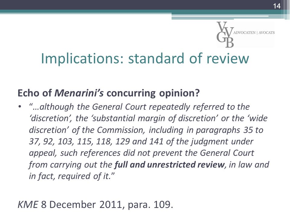 Implications: standard of review Echo of Menarini's concurring opinion.