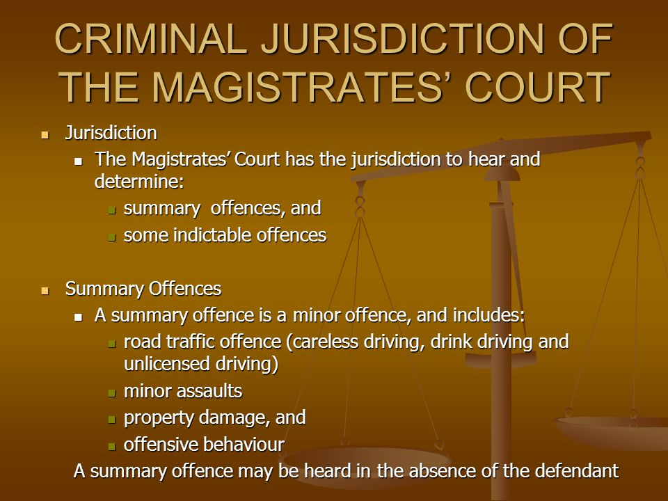 MAGISTRATES' COURT OF VICTORIA Jurisdiction Jurisdiction the Magistrates' Court of Victoria is the bottom tier of Victoria's court hierarchy, and is e