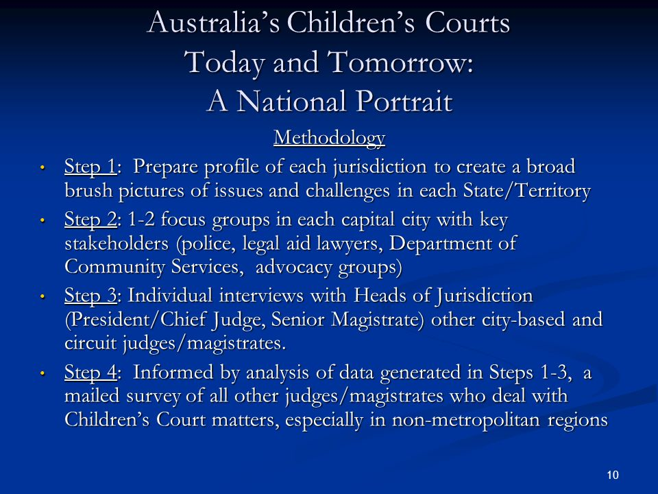10 Australia's Children's Courts Today and Tomorrow: A National Portrait Methodology Step 1: Prepare profile of each jurisdiction to create a broad brush pictures of issues and challenges in each State/Territory Step 1: Prepare profile of each jurisdiction to create a broad brush pictures of issues and challenges in each State/Territory Step 2: 1-2 focus groups in each capital city with key stakeholders (police, legal aid lawyers, Department of Community Services, advocacy groups) Step 2: 1-2 focus groups in each capital city with key stakeholders (police, legal aid lawyers, Department of Community Services, advocacy groups) Step 3: Individual interviews with Heads of Jurisdiction (President/Chief Judge, Senior Magistrate) other city-based and circuit judges/magistrates.