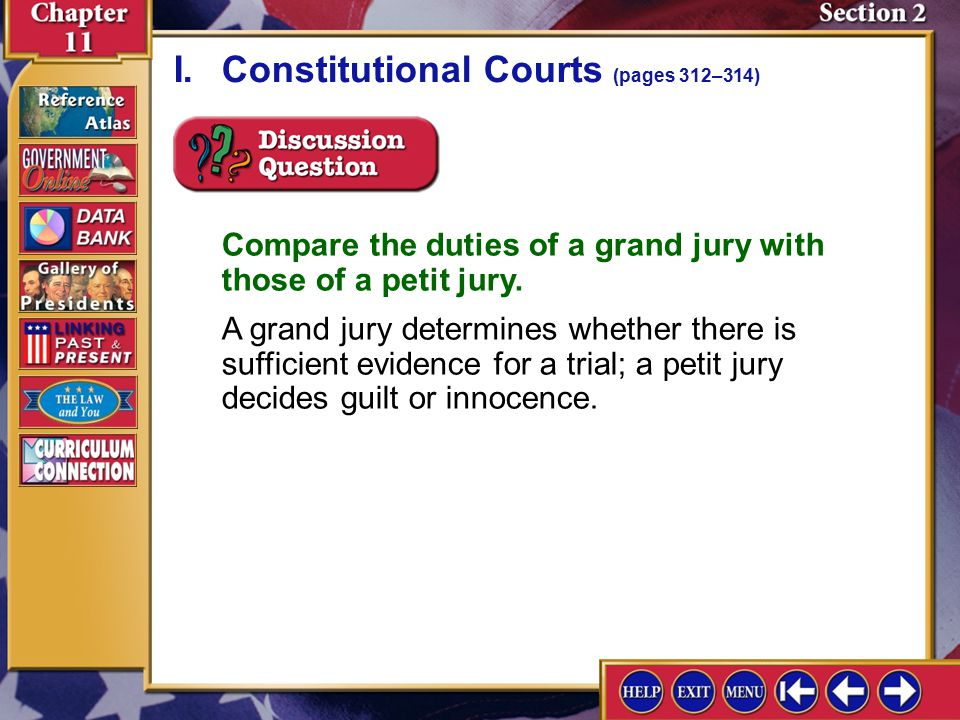 Section 2-2 A.The federal district courts were created by Congress as trial courts for both civil and criminal cases. I.Constitutional Courts (pages 3