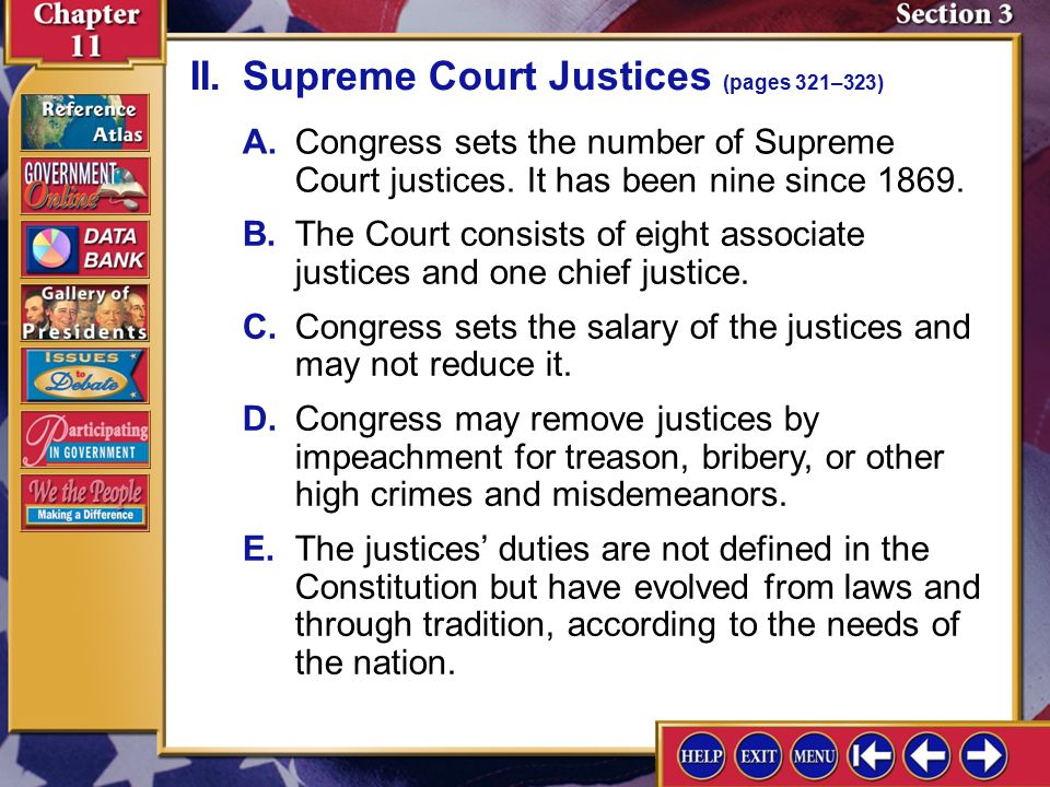 Section 3-4 A.Congress sets the number of Supreme Court justices.