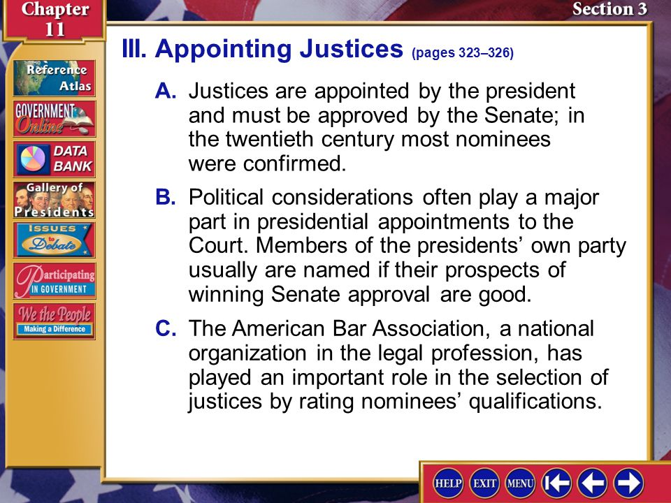 Section 3-6 I.Law clerks chosen by the justices help them research cases, summarize key issues in cases, and assist in writing drafts of justices' opi