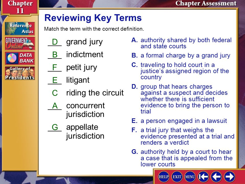 Chapter Assessment 2 Reviewing Key Terms ___grand jury ___indictment ___petit jury ___litigant riding the circuit ___concurrent jurisdiction ___appellate jurisdiction A.authority shared by both federal and state courts B.a formal charge by a grand jury C.traveling to hold court in a justice's assigned region of the country D.group that hears charges against a suspect and decides whether there is sufficient evidence to bring the person to trial E.a person engaged in a lawsuit F.a trial jury that weighs the evidence presented at a trial and renders a verdict G.authority held by a court to hear a case that is appealed from the lower courts D B F E C A G Match the term with the correct definition.