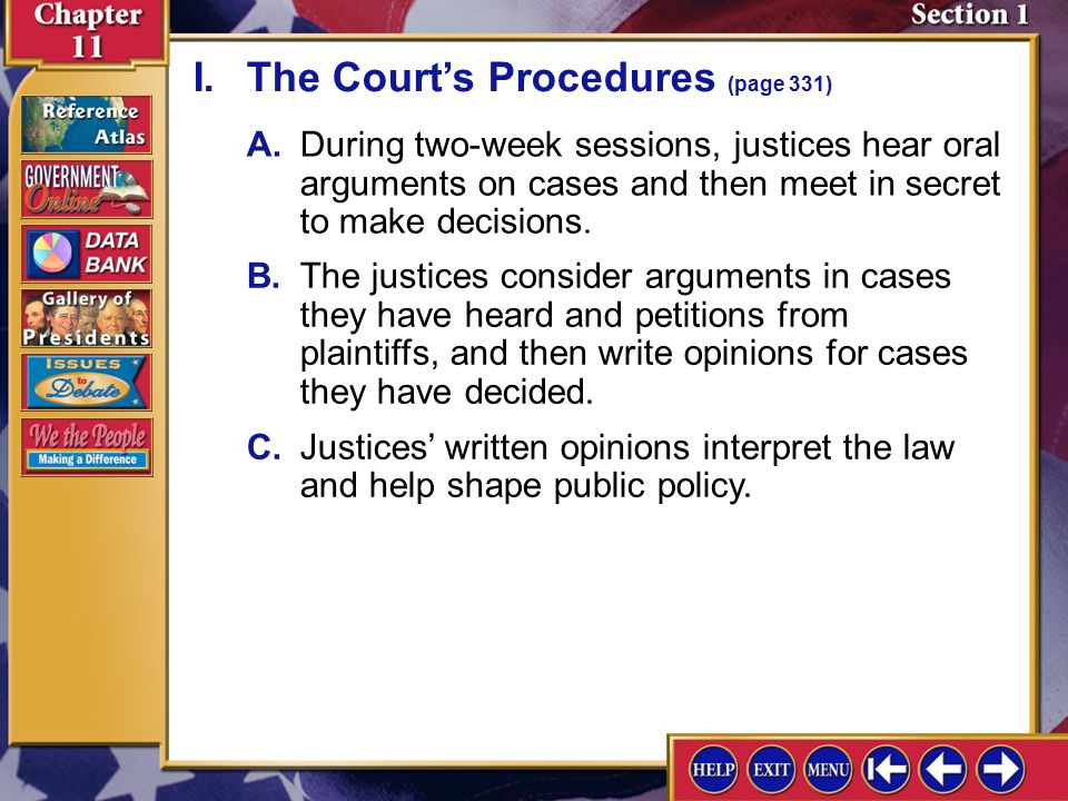 Section 1 Introduction-2 The Supreme Court at Work Understanding Concepts Political Processes Why does the Supreme Court decline to hear most of the c