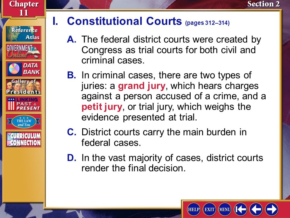 Section 2 Introduction-1 Lower Federal Courts Key Terms grand jury, indictment, petit jury, judicial circuit, senatorial courtesy Find Out How are fed