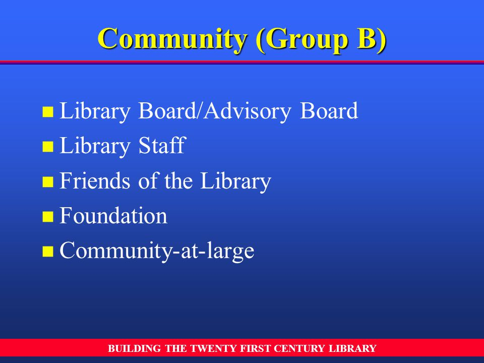 BUILDING THE TWENTY FIRST CENTURY LIBRARY n n Library Board/Advisory Board n n Library Staff n n Friends of the Library n n Foundation n n Community-a