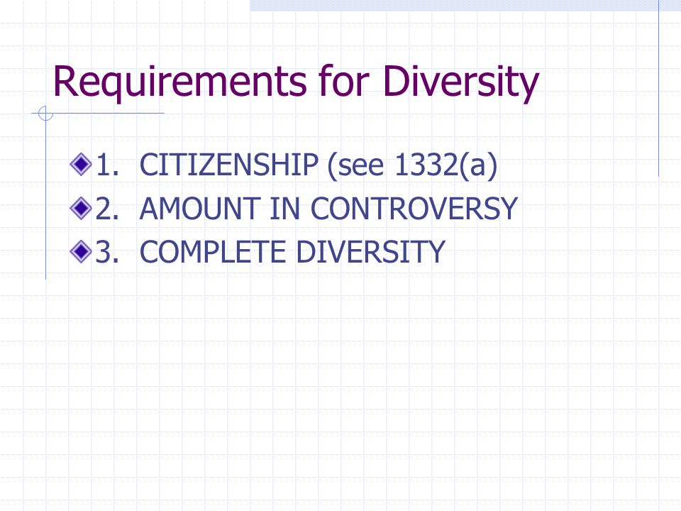 Requirements for Diversity 1. CITIZENSHIP (see 1332(a) 2. AMOUNT IN CONTROVERSY 3. COMPLETE DIVERSITY