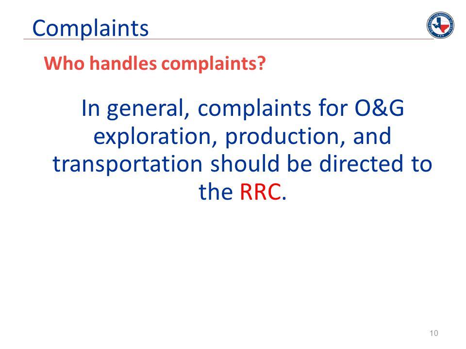 Complaints Who handles complaints.