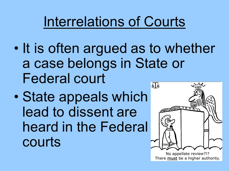 Interrelations of Courts It is often argued as to whether a case belongs in State or Federal court State appeals which lead to dissent are heard in th