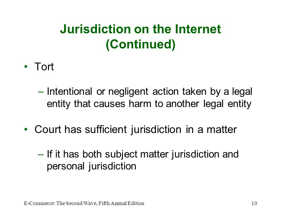 E-Commerce: The Second Wave, Fifth Annual Edition10 Jurisdiction on the Internet (Continued) Tort –Intentional or negligent action taken by a legal en