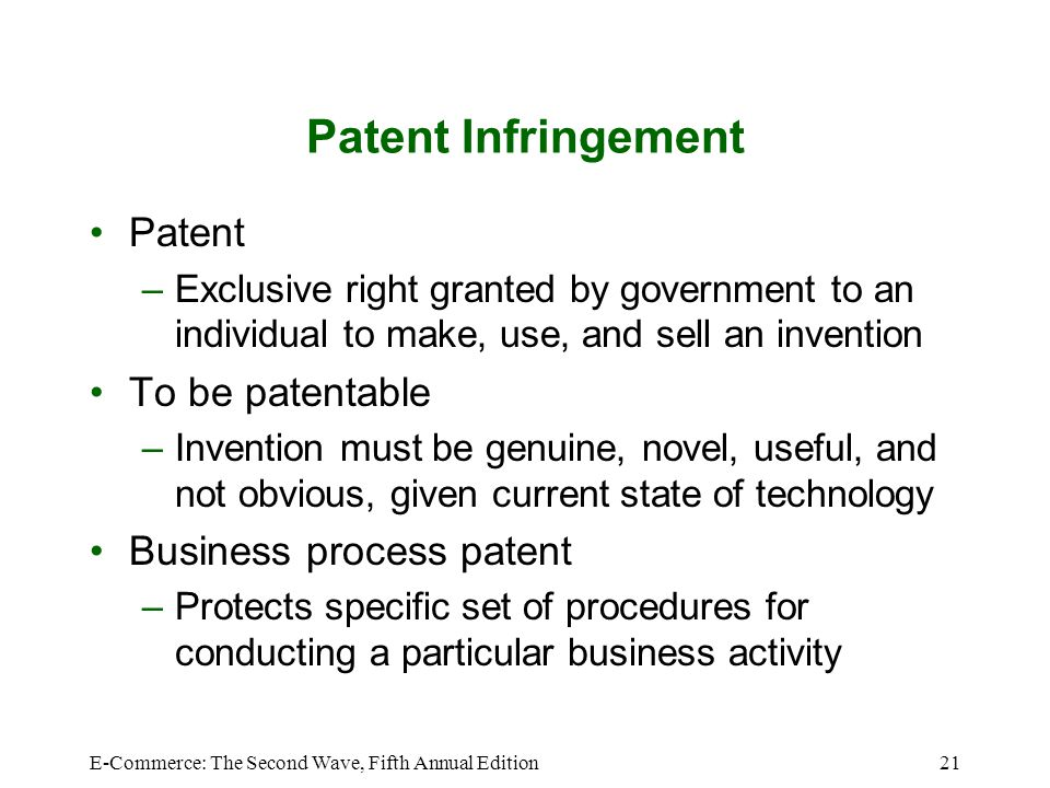 E-Commerce: The Second Wave, Fifth Annual Edition21 Patent Infringement Patent –Exclusive right granted by government to an individual to make, use, a