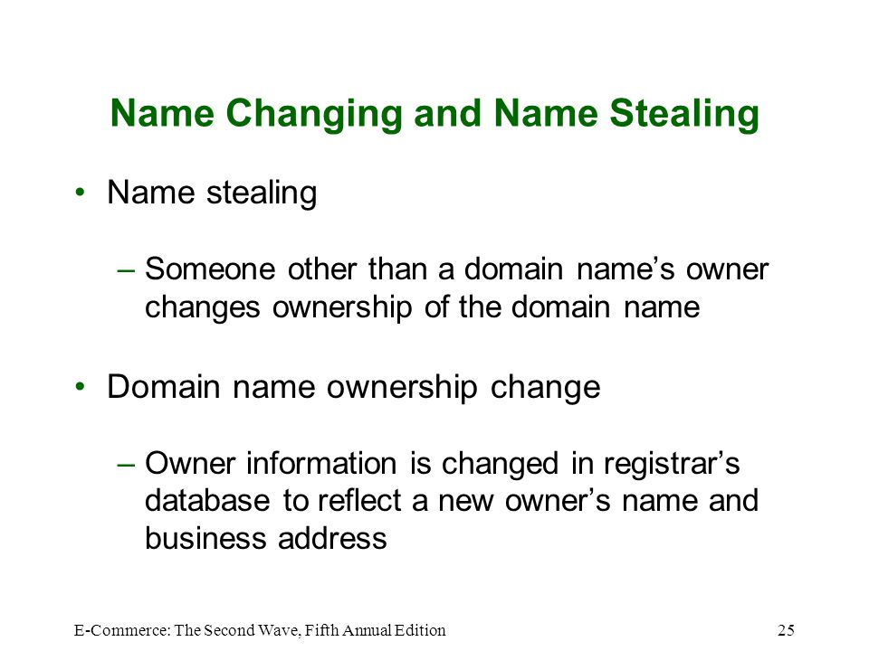 E-Commerce: The Second Wave, Fifth Annual Edition25 Name Changing and Name Stealing Name stealing –Someone other than a domain name's owner changes ow