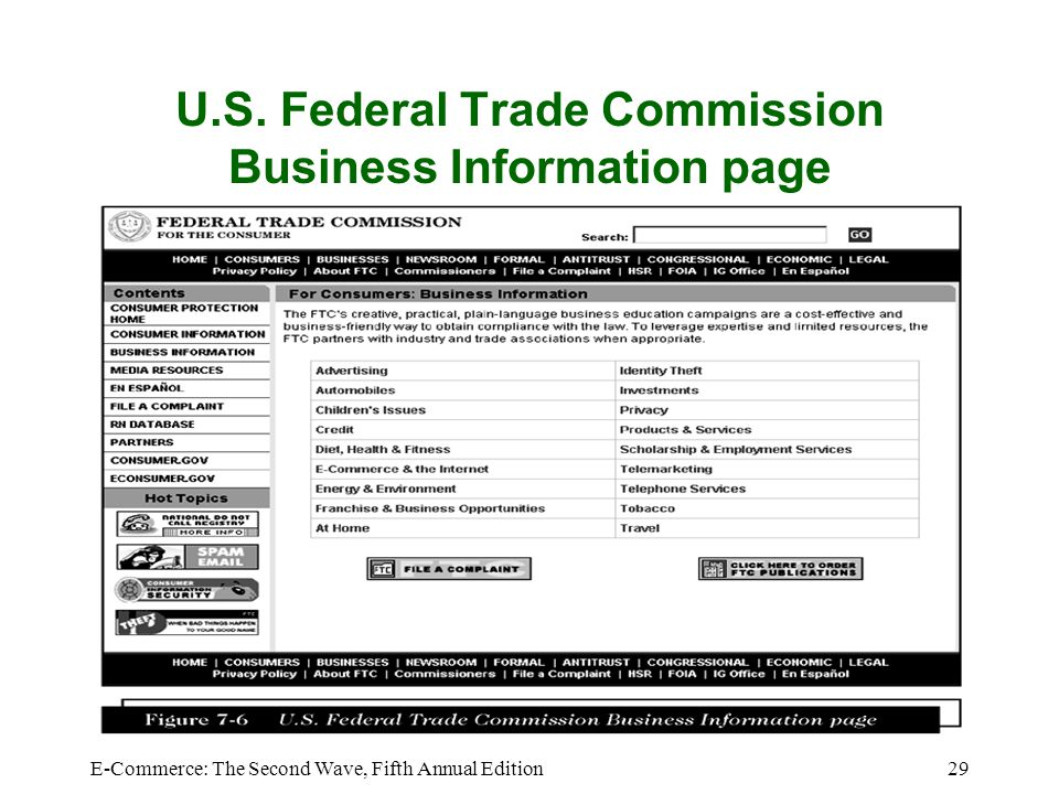 E-Commerce: The Second Wave, Fifth Annual Edition29 U.S. Federal Trade Commission Business Information page