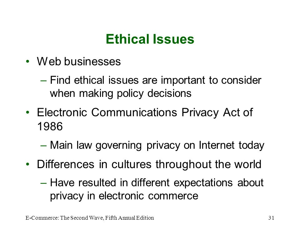 E-Commerce: The Second Wave, Fifth Annual Edition31 Ethical Issues Web businesses –Find ethical issues are important to consider when making policy de