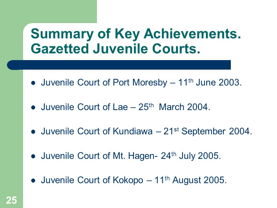 25 Summary of Key Achievements.Gazetted Juvenile Courts.