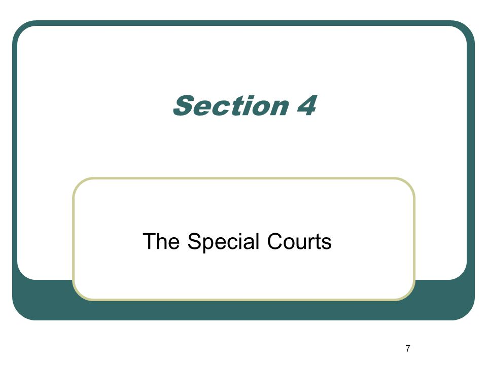 7 Section 4 The Special Courts