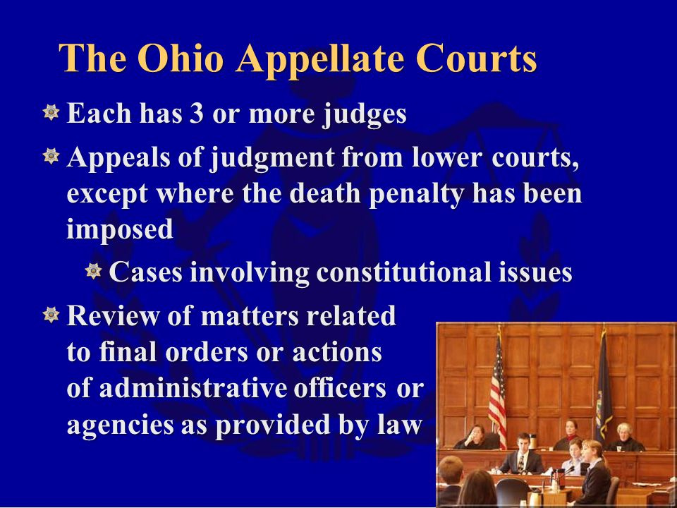 The Ohio Appellate Courts Each has 3 or more judges Appeals of judgment from lower courts, except where the death penalty has been imposed Cases involving constitutional issues Review of matters related to final orders or actions of administrative officers or agencies as provided by law