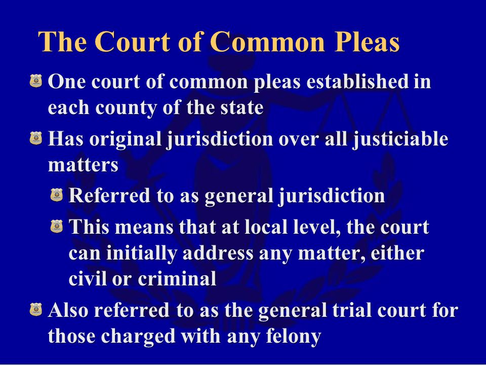 The Court of Common Pleas One court of common pleas established in each county of the state Has original jurisdiction over all justiciable matters Referred to as general jurisdiction This means that at local level, the court can initially address any matter, either civil or criminal Also referred to as the general trial court for those charged with any felony