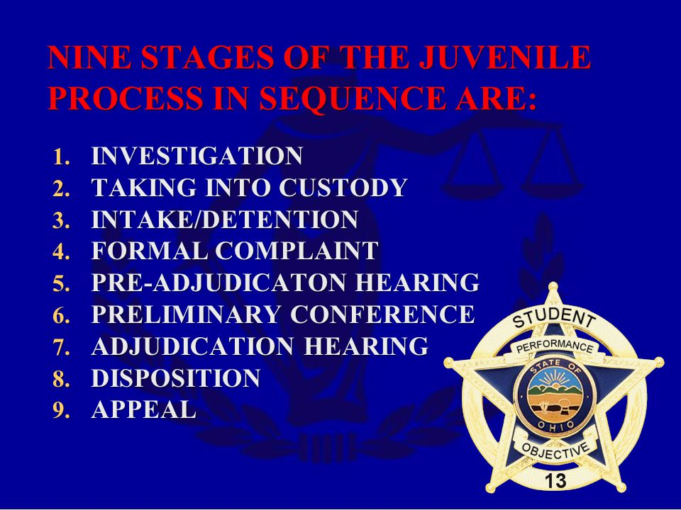 NINE STAGES OF THE JUVENILE PROCESS IN SEQUENCE ARE: 1.