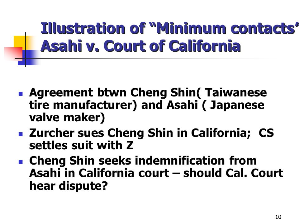 10 Illustration of Minimum contacts : Asahi v.