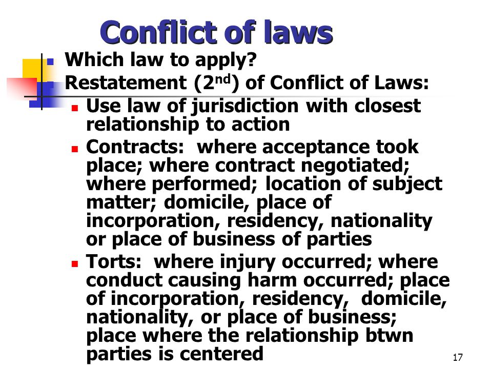 17 Conflict of laws Which law to apply.
