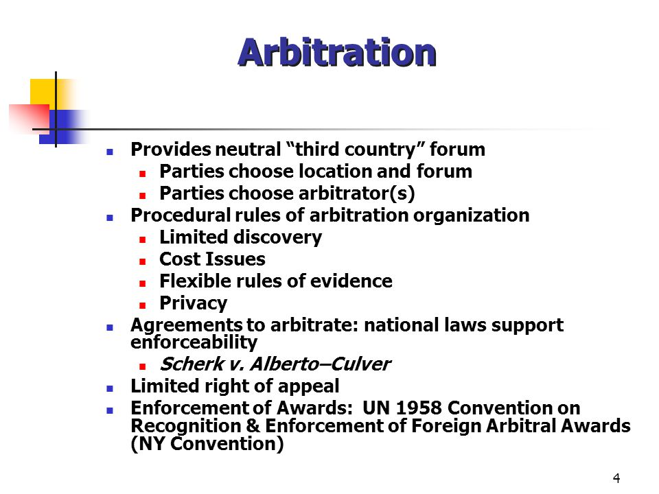 5 Enforcement of Agreements to Arbitrate under the 1958 NY Convention US judicial approach to enforcing international agreements to arbitrate – 4 questions: Is there a written agreement to arbitrate the dispute.