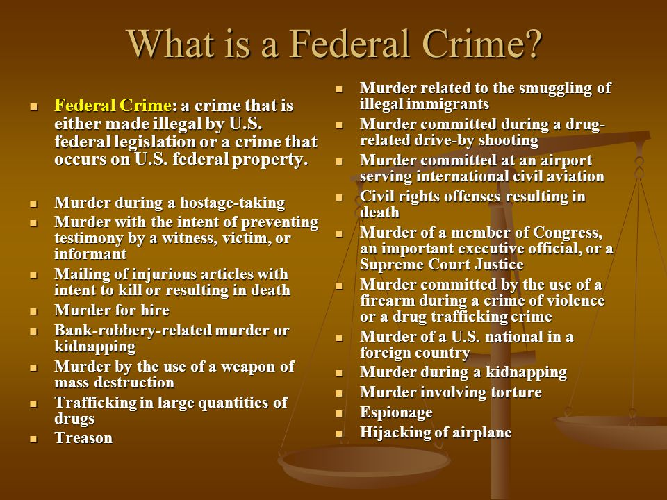 What is a Federal Crime? Federal Crime: a crime that is either made illegal by U.S. federal legislation or a crime that occurs on U.S. federal propert