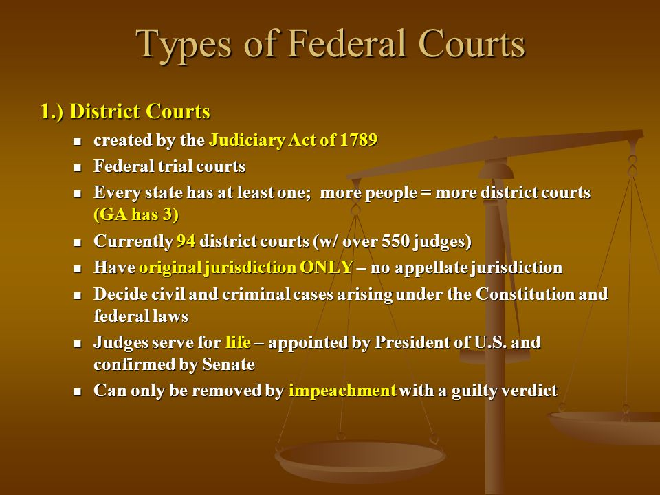 Types of Federal Courts 1.) District Courts created by the Judiciary Act of 1789 created by the Judiciary Act of 1789 Federal trial courts Federal tri