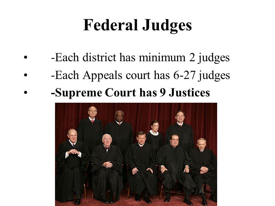 Federal Judges -Each district has minimum 2 judges -Each Appeals court has 6-27 judges -Supreme Court has 9 Justices