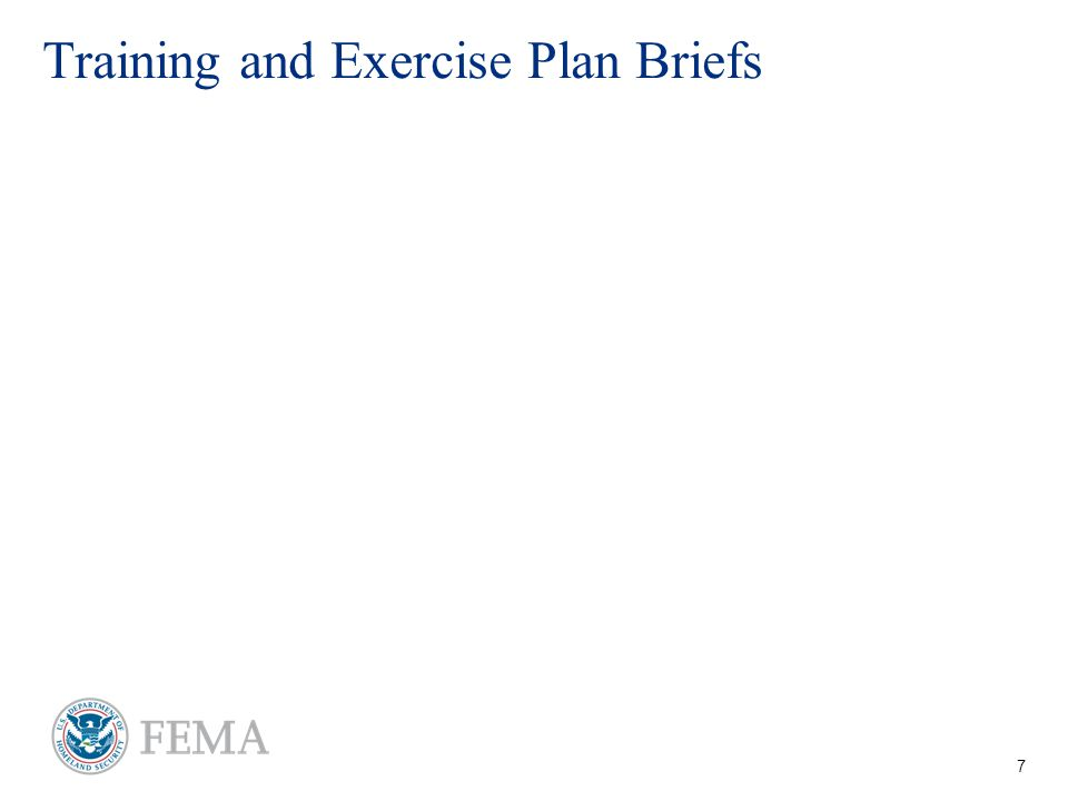7 Training and Exercise Plan Briefs