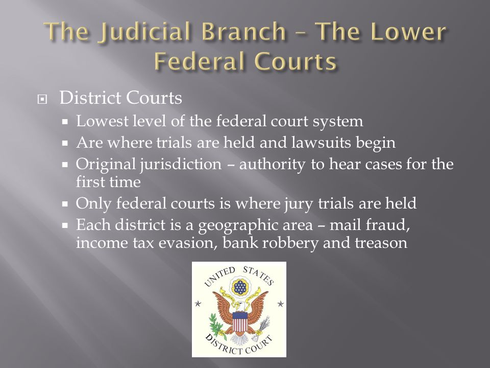  District Courts  Lowest level of the federal court system  Are where trials are held and lawsuits begin  Original jurisdiction – authority to hea
