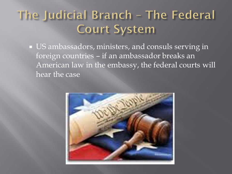  US ambassadors, ministers, and consuls serving in foreign countries – if an ambassador breaks an American law in the embassy, the federal courts wil