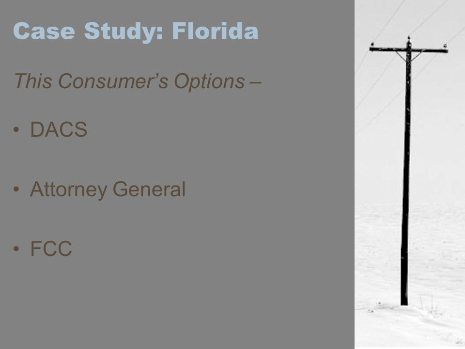 Case Study: Florida This Consumer's Options – DACS Attorney General FCC