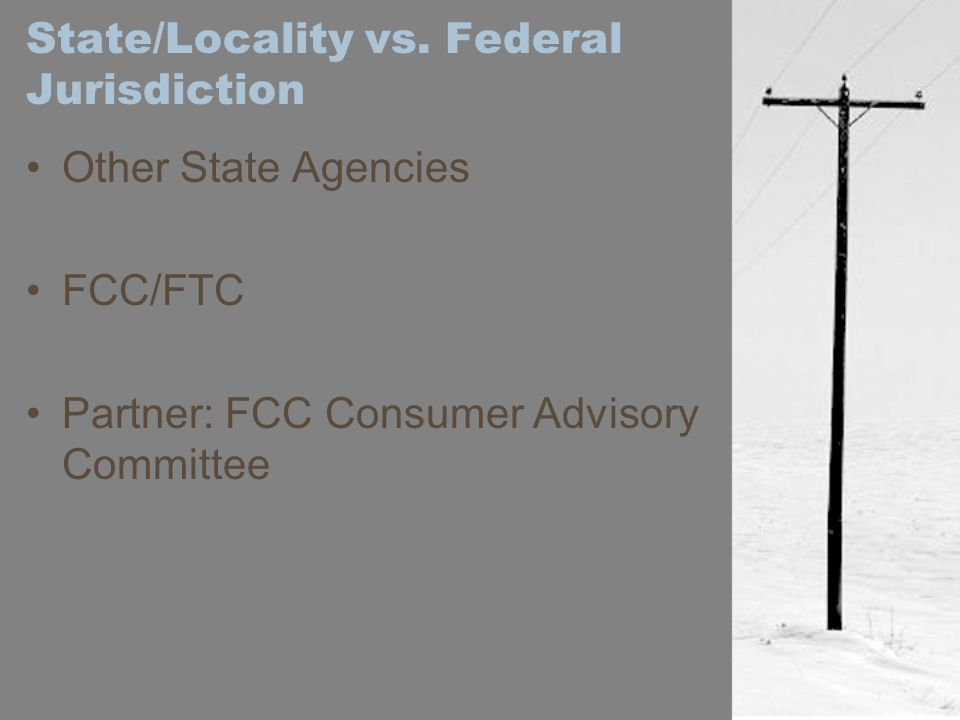 State/Locality vs. Federal Jurisdiction Other State Agencies FCC/FTC Partner: FCC Consumer Advisory Committee