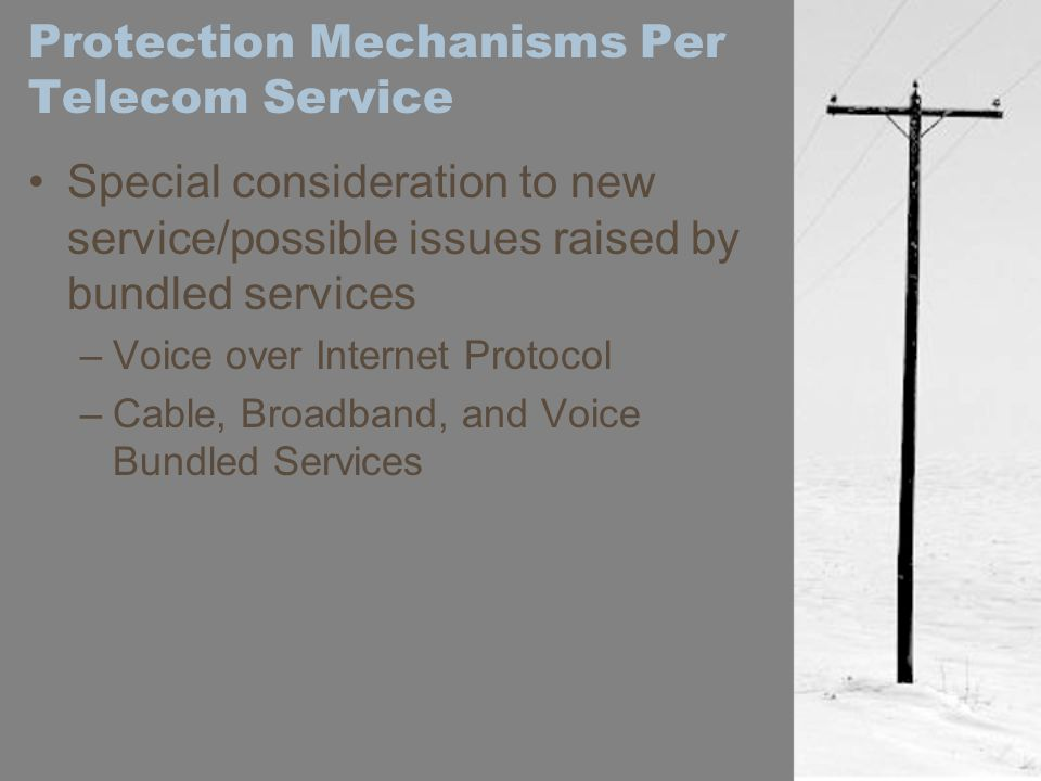 Protection Mechanisms Per Telecom Service Special consideration to new service/possible issues raised by bundled services –Voice over Internet Protoco