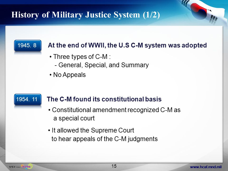 www.hcaf.mnd.mil 15 History of Military Justice System (1/2) It allowed the Supreme Court to hear appeals of the C-M judgments 1954.