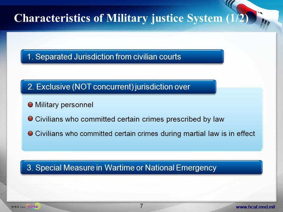 www.hcaf.mnd.mil 8 Characteristics of Military justice System (2/2) Democratic Aspects: Judicial Panel Committee appointed by Convening Authority (TOP-DOWN WAY), Review and Sentence reduction by Convening Authority Independency and Professional Aspects : Military courts belong to the MND Organization, Military Judge and Prosecutor s Cross Appointment & Position System, lay officer (Infantry officer) in the panel of the Court