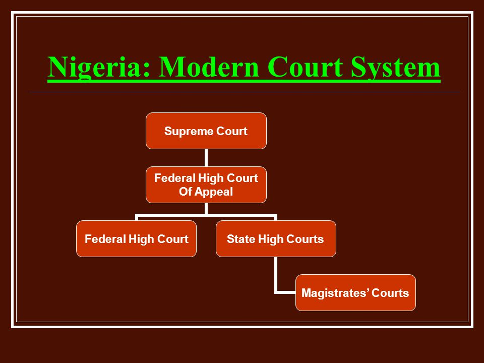 Nigeria: Modern Court System Supreme Court Federal High Court Of Appeal Federal High Court State High Courts Magistrates' Courts