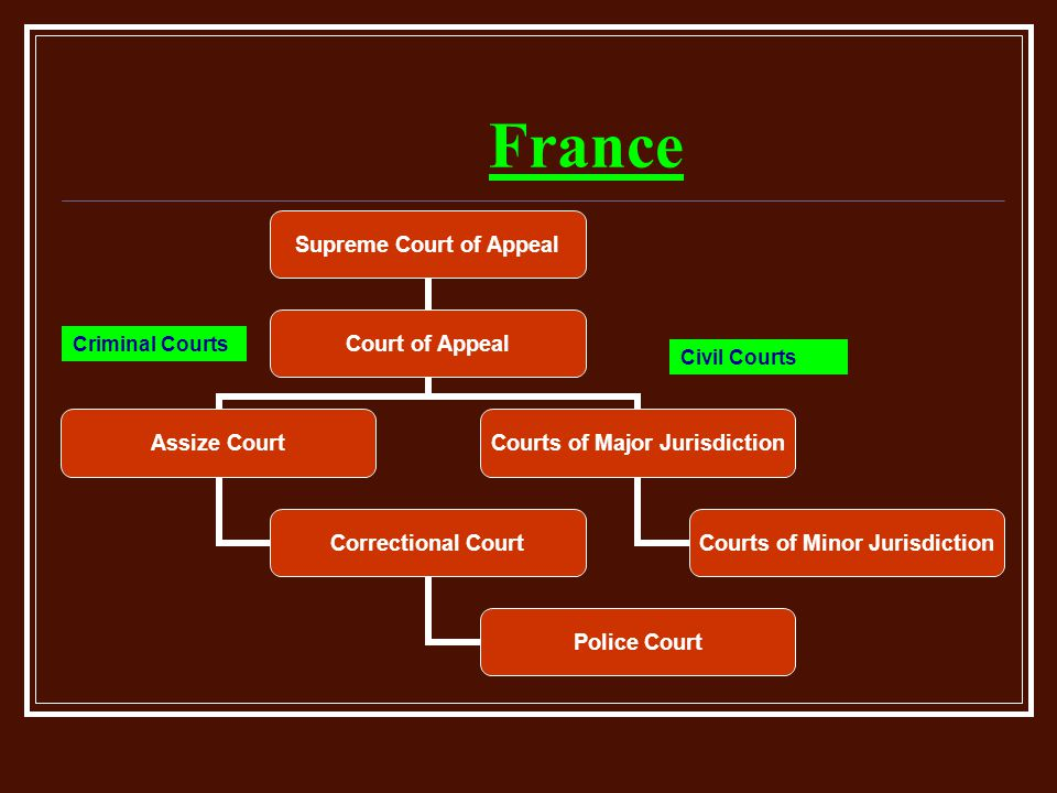 France Supreme Court of Appeal Court of Appeal Assize Court Correctional Court Police Court Courts of Major Jurisdiction Courts of Minor Jurisdiction Criminal Courts Civil Courts