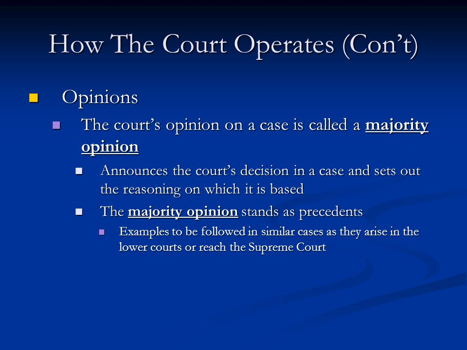 How The Court Operates (Con't) Opinions Opinions The court's opinion on a case is called a majority opinion The court's opinion on a case is called a