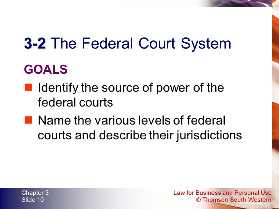 Law for Business and Personal Use © Thomson South-Western Chapter 3 Slide 10 3-2 3-2 The Federal Court System GOALS Identify the source of power of th