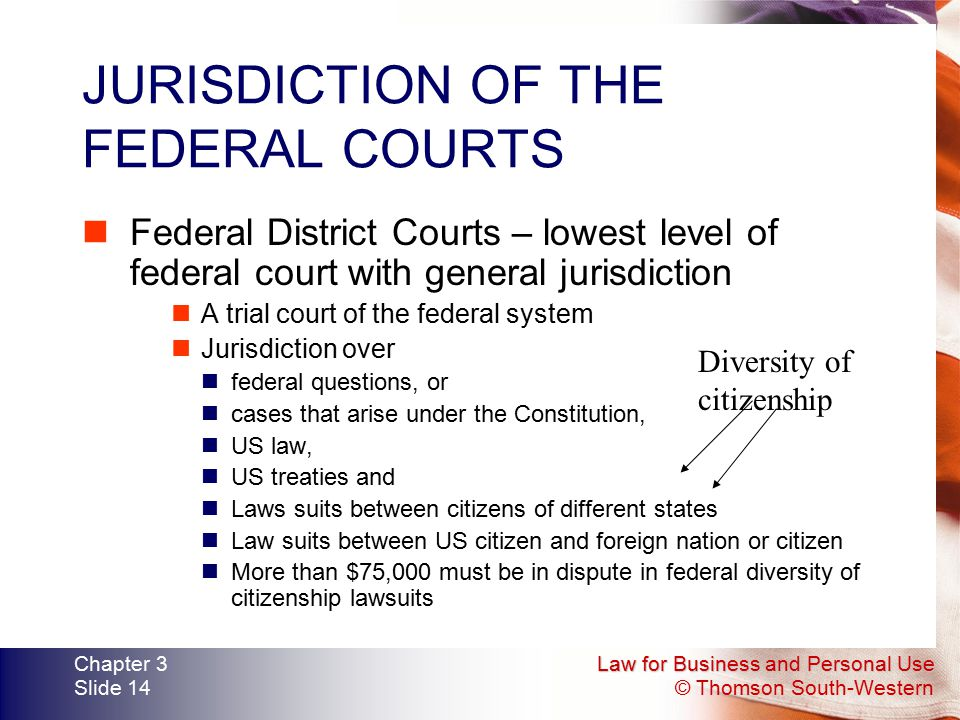 Law for Business and Personal Use © Thomson South-Western Chapter 3 Slide 14 JURISDICTION OF THE FEDERAL COURTS Federal District Courts – lowest level