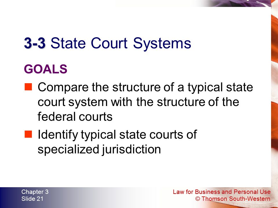 Law for Business and Personal Use © Thomson South-Western Chapter 3 Slide 21 3-3 3-3 State Court Systems GOALS Compare the structure of a typical stat