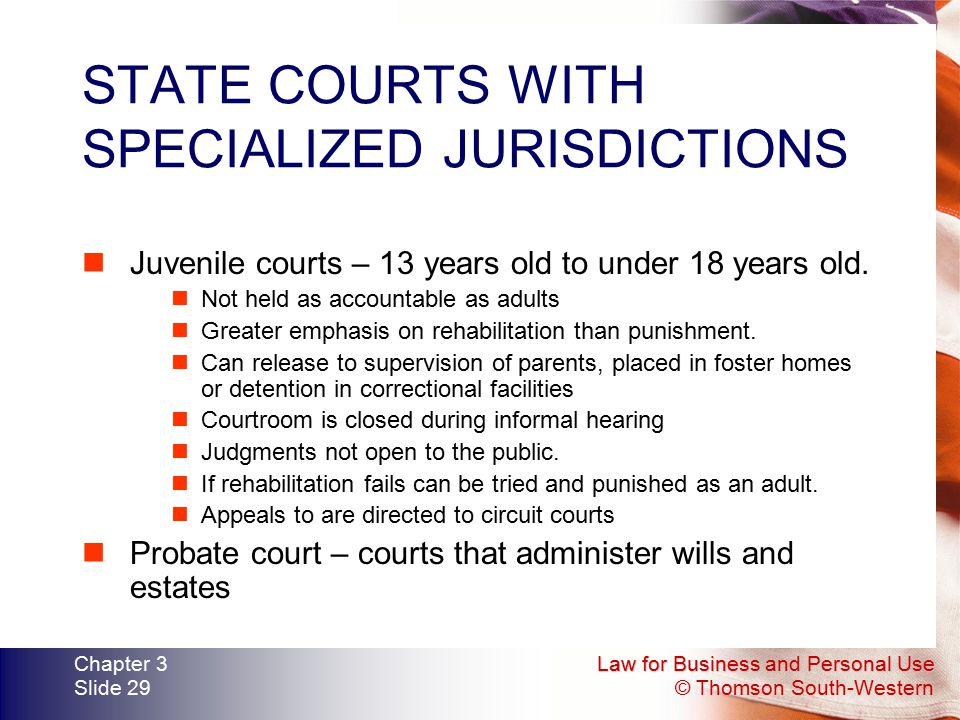Law for Business and Personal Use © Thomson South-Western Chapter 3 Slide 29 STATE COURTS WITH SPECIALIZED JURISDICTIONS Juvenile courts – 13 years ol