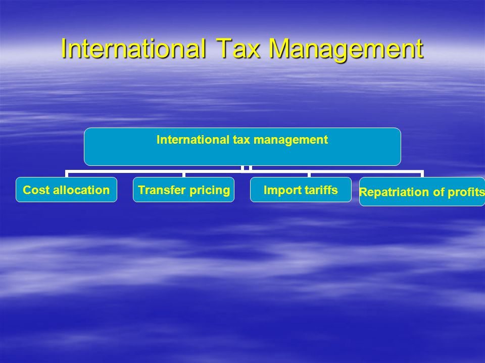 International Tax Management International tax management Cost allocationTransfer pricingImport tariffs Repatriation of profits
