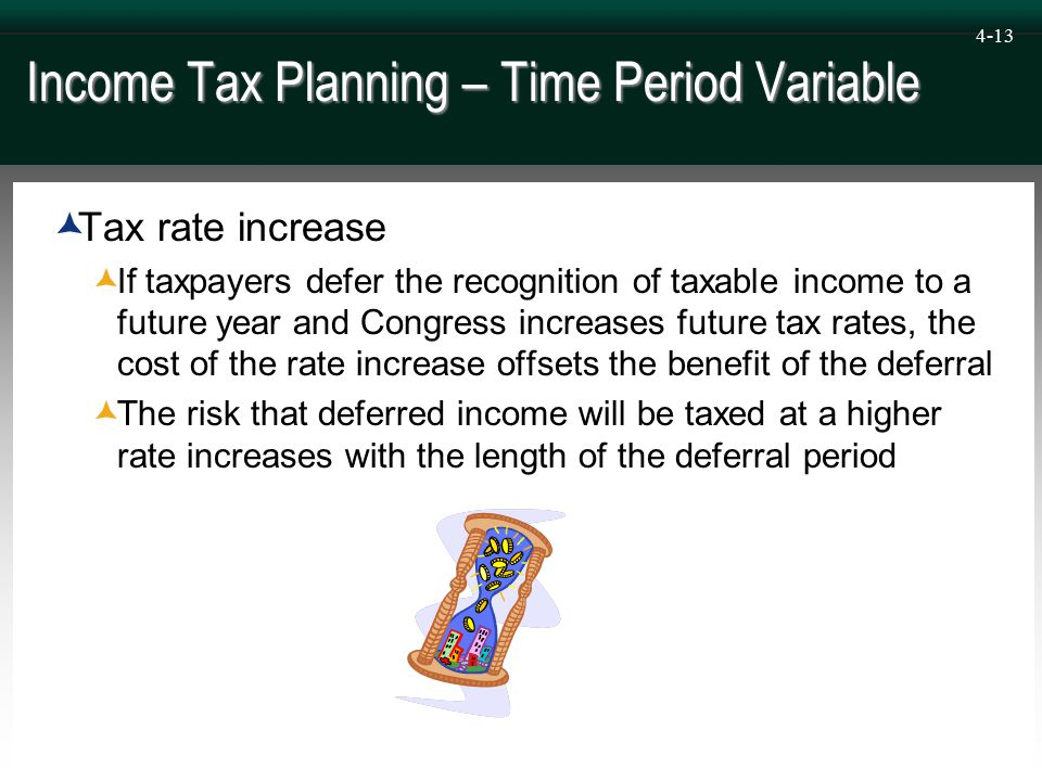 4-13 Income Tax Planning – Time Period Variable  Tax rate increase  If taxpayers defer the recognition of taxable income to a future year and Congress increases future tax rates, the cost of the rate increase offsets the benefit of the deferral  The risk that deferred income will be taxed at a higher rate increases with the length of the deferral period