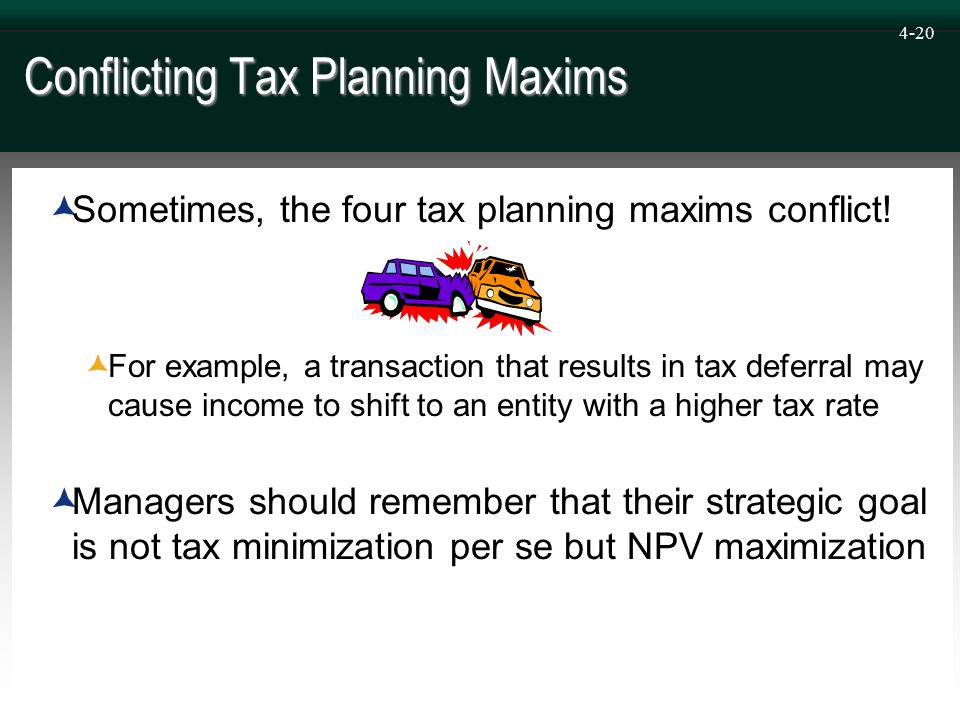4-20 Conflicting Tax Planning Maxims  Sometimes, the four tax planning maxims conflict.
