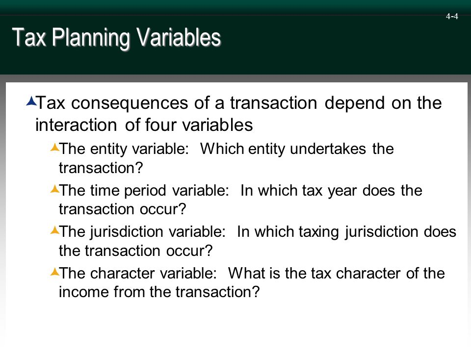 4-4 Tax Planning Variables  Tax consequences of a transaction depend on the interaction of four variables  The entity variable: Which entity undertakes the transaction.