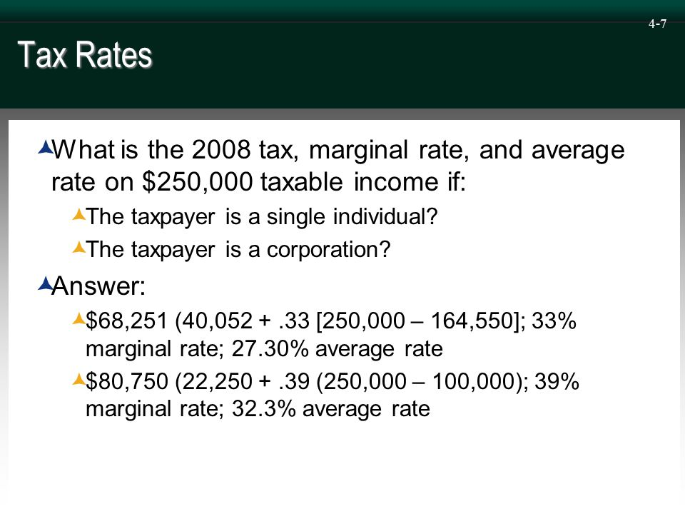 4-18 Income Tax Planning – Character Variable  Most types of ordinary income are taxed at regular rates  Exceptions to this rule include interest on state and local bonds (tax-exempt for both corporations and individuals) and qualified dividends (taxed at preferential rates for individuals)  Capital gains  Taxed at preferential rates for individuals  Taxed at regular rates for corporations